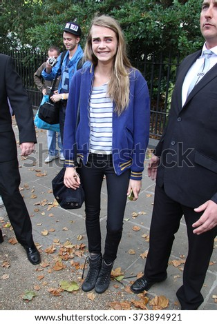 LONDON - SEP 14, 2012: Cara Delevingne seen at LFW on Sep 14, 2012 in London