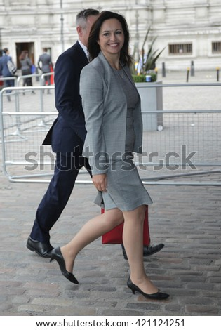 LONDON - SEP 12, 2015: Liz Kendall seen arriving at the Labour Party leadership election on Sep 12, 2015 in London