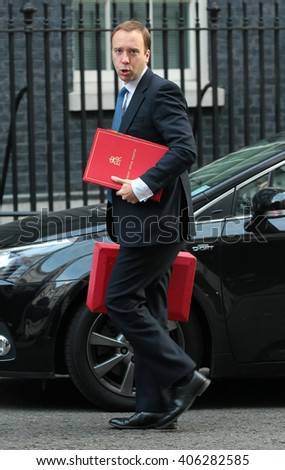 LONDON - SEP 29, 2015: Matthew Hancock MP, Minister for the Cabinet Office and Paymaster General seen in Downing Street on Sep 29, 2015 in London