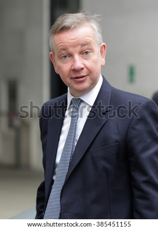 LONDON - SEP 13, 2015: Michael Gove, Conservative politician seen at The Andrew Marr Show at BBC broadcasting house on Sep 13, 2015 in London house building in London