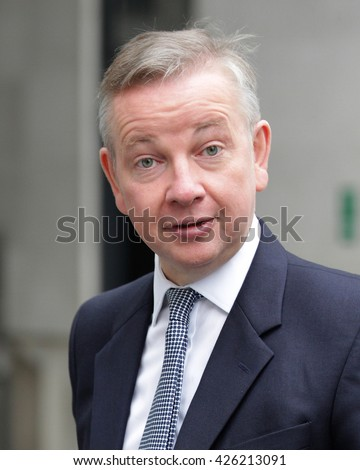 LONDON - SEP 13, 2015: Michael Gove, Conservative politician seen leaving the BBC Andrew Marr Show on Sep 13, 2015 in London - stock photo