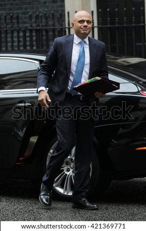LONDON - SEP 15, 2015: Sajid Javid MP, Secretary of State for Business seen attending the cabinet meeting in Downing Street on Sep 15, 2015 in London - stock photo