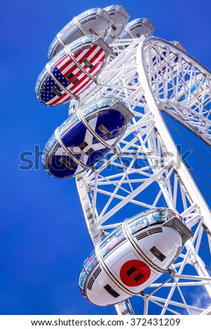 LONDON - SEP 20:The  London Eye on September 20, 2015 in London. Close up view of London Eye, London Eye is the most popular attraction in UK and the tallest Ferris Wheel in Europe at 135 meters.