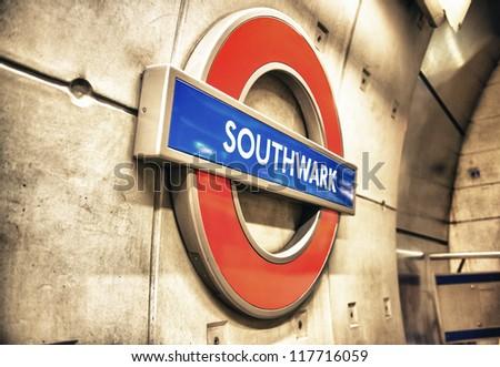 LONDON - SEP 27: Underground Southwark tube station in London on September 27, 2012. The London Underground is the oldest underground railway in the world covering 402 km of tracks - stock photo