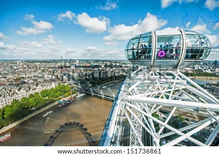 LONDON - SEP 12: View at capsule and Charing Cross from London Eye on September 12, 2010 in London. With diameter of 120 meters and height of 135 meters, it is the highest ferris wheel in Europe.  - stock photo