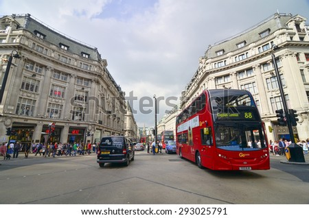 LONDON-SEP 20:View of Oxford Street on September 20, 2014 in London. Oxford Street is a major road in the West End of London, UK. - stock photo