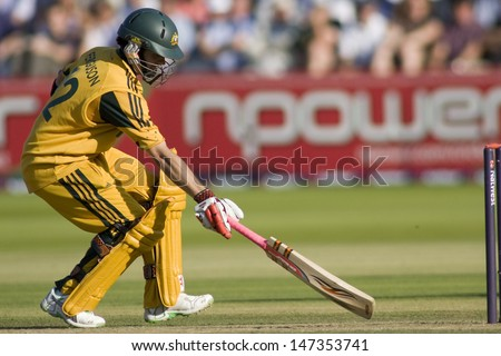 LONDON - 12 SEPT 2009; London England: Australia team player Callum Ferguson running a single during the Nat West, 4th one day international cricket match  held at Lords Cricket ground - stock photo