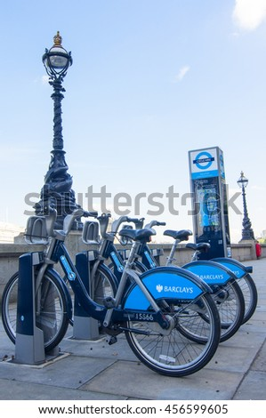 LONDON - September 1, 2015: Bikes for rent in Lodnon. Barclays Cycle Hire (BCH) is a public bicycle sharing scheme in London, currently with 8,000 cycles and 570 docking station. - stock photo