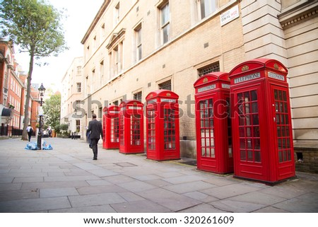 LONDON - SEPTEMBER 2ND: Broad court on September the 2nd, 2015 in London, england, uk. Broad court boast one of the most picturesque rows of london phoneboxes. - stock photo
