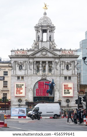 LONDON - September 1, 2015: Outside view of Victoria Palace Theatre, located on Victoria Street, City of Westminster, since 1911, designed by Frank Matcham, London, UK - stock photo