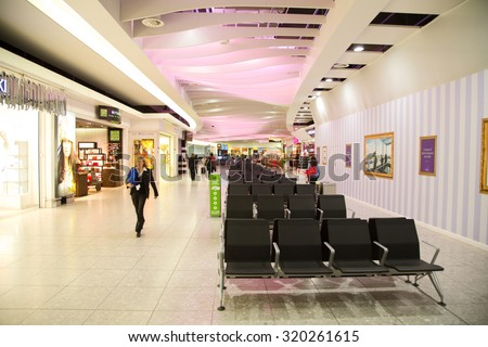 LONDON - SEPTEMBER 5TH: Departure lounge at heathrow airport on September the 5th, 2015 in London, england, uk. Heathrow is one of the busiest airports in the world