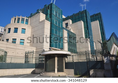 LONDON - SEPTEMBER 6, 2015. The Secret Intelligence Service building, known as MI6 designed by Terry Farrell & Partners, featured in a James Bond film and is located by Vauxhall Bridge, London, UK.