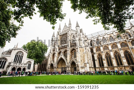 LONDON - SEPTEMBER 20: The Westminster Abbey and Westminster Abbey Choir School, September 20, 2013. - stock photo