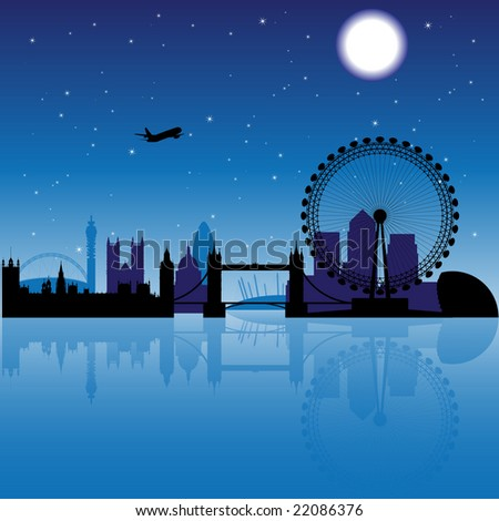 London silhouette at night with stars and moon on the background - stock photo