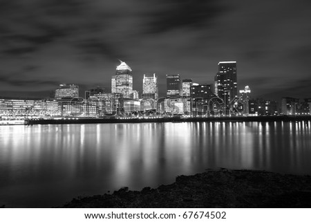 london sky line night time - stock photo