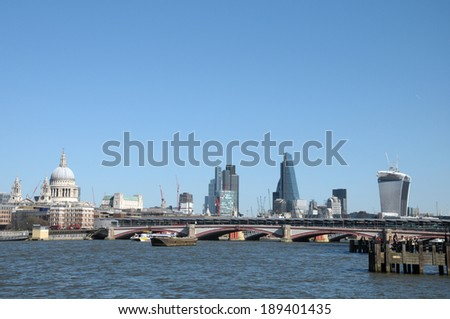 London skyline across River Thames at Blackfriars - stock photo