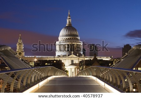 London skyline and Saint Pauls cathedral - stock photo