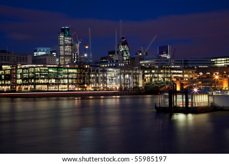 London Skyline at Night - stock photo