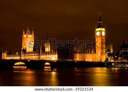 London Skyline at Night showing Big Ben and Westminster
