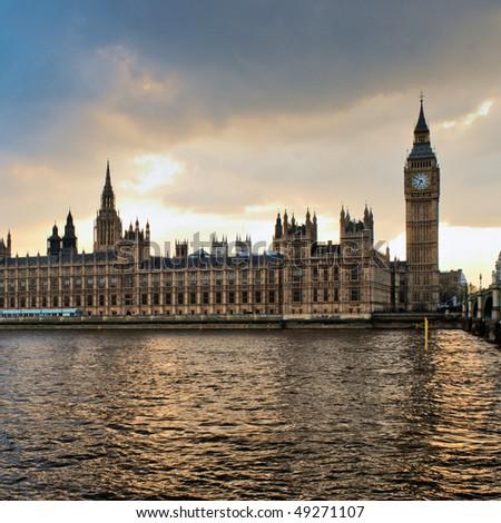 London skyline at sunset. - stock photo