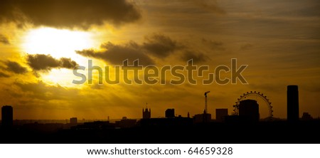 london skyline at sunset - stock photo