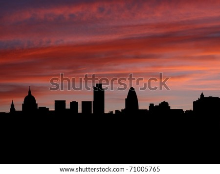 London Skyline at sunset with beautiful sky illustration