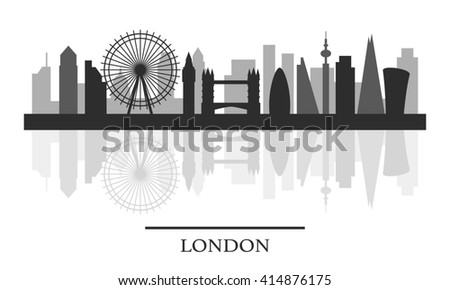 London skyline, black and white stylish silhouette, illustration - stock photo