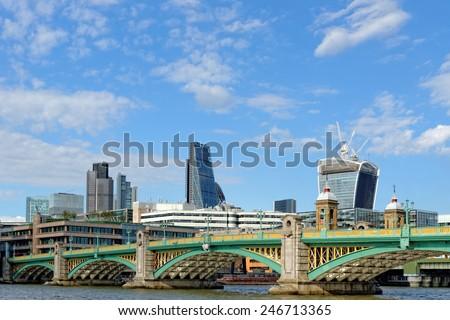 London skyline - City of London and Southwark bridge.UK. - stock photo