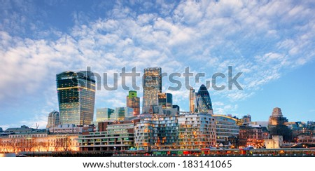 London skyline - cityspace, England - stock photo