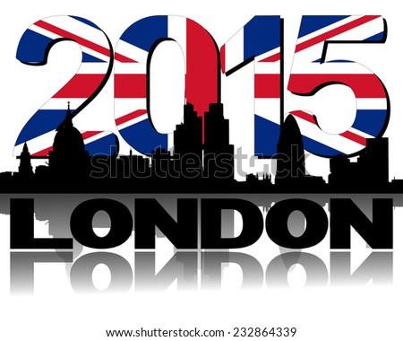 London skyline 2015 flag text illustration - stock photo