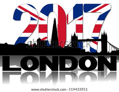 London skyline 2017 flag text illustration