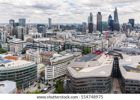 London skyline from St Paul's Cathedral - stock photo