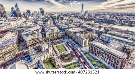 London skyline from St. Paul's Cathedral. - stock photo
