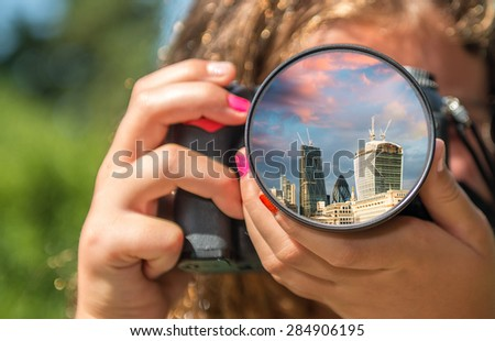 London skyline from the eyes of a little girl. - stock photo