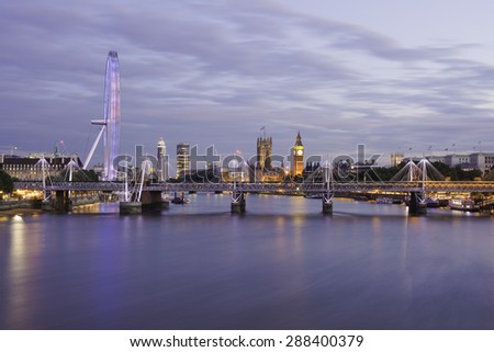 London skyline in the blue hour from Waterloo bridge - stock photo