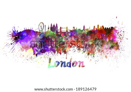 London skyline in watercolor splatters with clipping path - stock photo