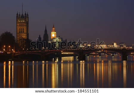 London skyline, include Westminster Palace, Big Ben and Victoria Tower, seen from South Bank   - stock photo