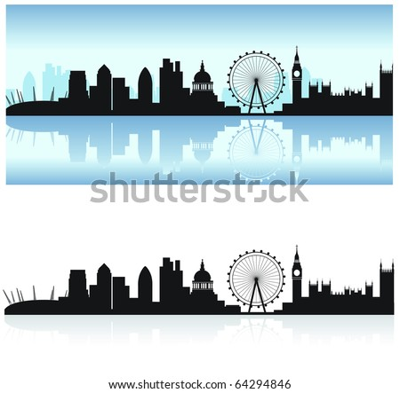 london skyline including all the tourist attractions as a detailed black silhouette with the thames reflection - stock photo