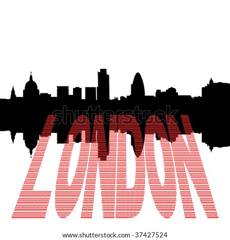London Skyline including St Pauls Cathedral with pound symbol text illustration JPEG - stock photo