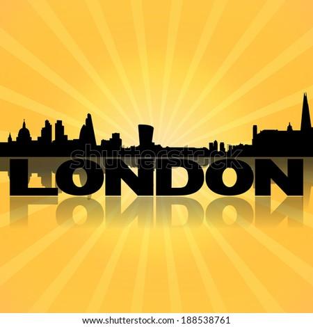 London skyline reflected with sunburst illustration - stock photo