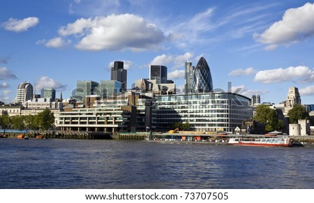 London skyline seen from the River Thames - stock photo
