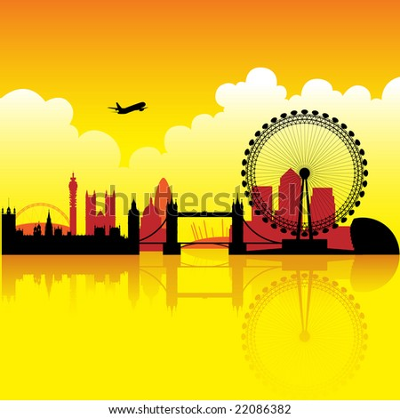 London skyline silhouette at dusk with reflection on thames - stock photo