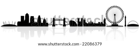 London skyline silhouette isolated on a white background with reflections - stock photo
