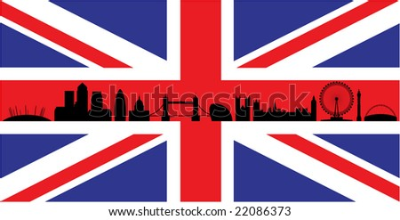 London skyline silhouette isolated on union jack flag - stock photo