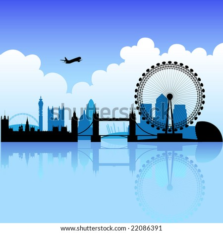 London skyline silhouette on a bright partly cloudy day - stock photo