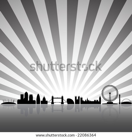 London skyline silhouette on a sunny background - stock photo
