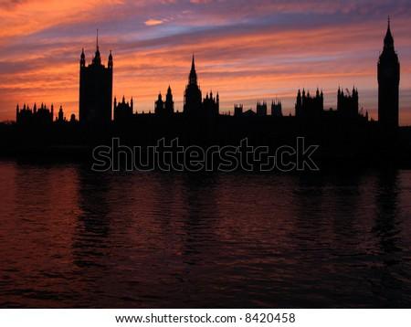 London skyline silhouette, United Kingdom - stock photo