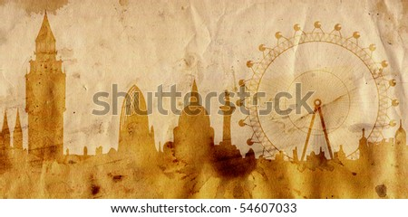 London skyline - towers of Westminster - in grunge style - stock photo