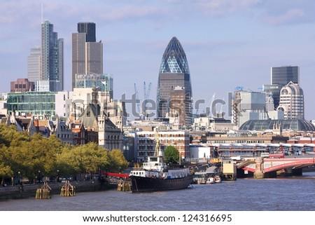 London skyline, United Kingdom - cityscape with modern buildings - stock photo