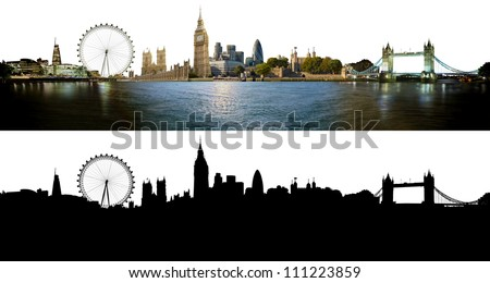 London skyline, with all important buildings and attractions of the city - photographic composition with corresponding alpha silhouette mask - stock photo
